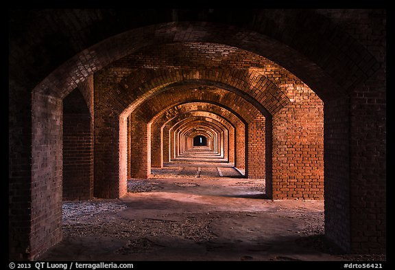 Gallery illuminated by last light inside Fort Jefferson. Dry Tortugas National Park (color)