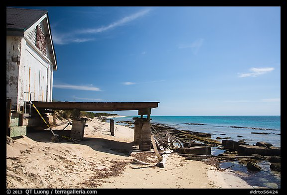 Shack and pier on Loggerhead Key. Dry Tortugas National Park (color)