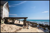 Shack and pier on Loggerhead Key. Dry Tortugas National Park, Florida, USA. (color)