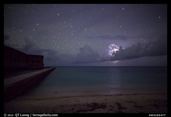 Fort Jefferson and beach at night with cloud electric storm. Dry Tortugas National Park (color)