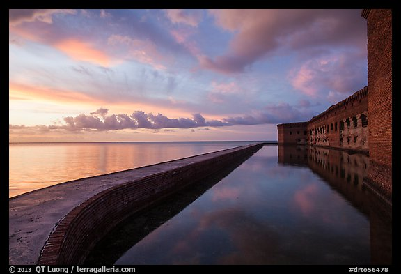 Fort Jefferson seawall, moat and walls at sunset. Dry Tortugas National Park (color)