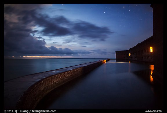 Fort Jefferson at dusk with stars. Dry Tortugas National Park (color)