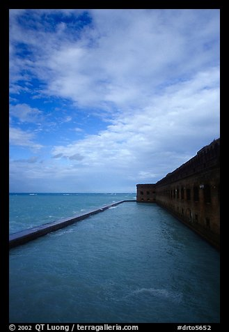 Sky, seawall and moat on windy day. Dry Tortugas National Park (color)