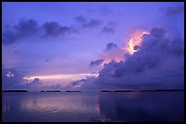 Clearing storm on Florida Bay seen from the Keys, sunset. Everglades National Park, Florida, USA. (color)