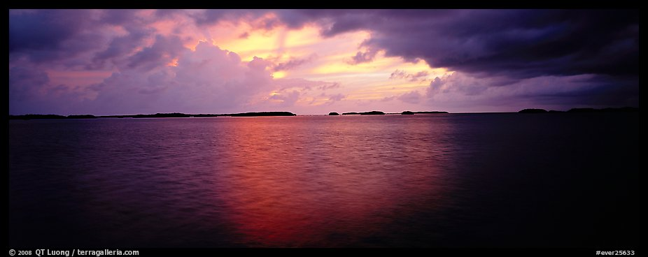 Stormy sunset over bay with low islets in background. Everglades National Park (color)