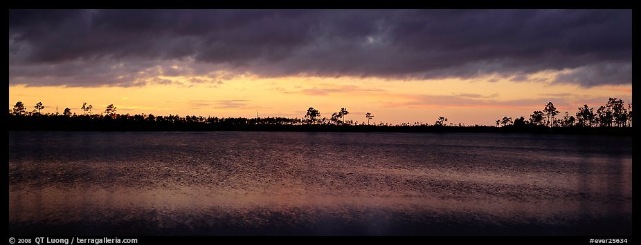Sunset over lake with dark clouds. Everglades  National Park (color)