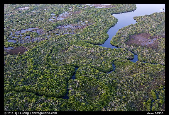 Aerial view of river and lake with chickees. Everglades National Park (color)