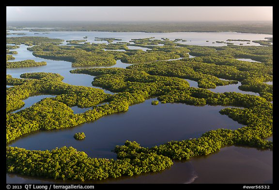Aerial view of Ten Thousand Islands and Chokoloskee Bay. Everglades National Park (color)