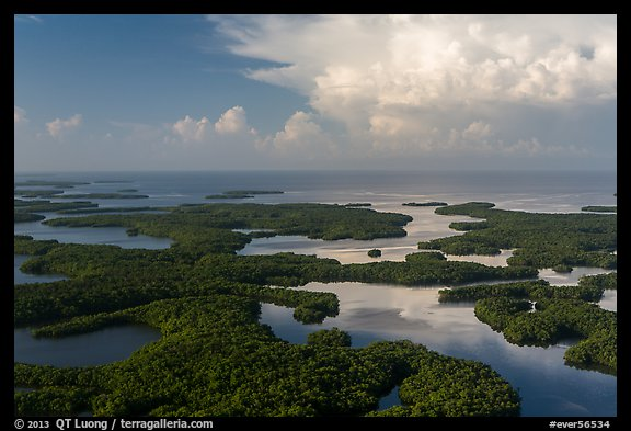 Aerial view of Ten Thousand Islands and Gulf of Mexico. Everglades National Park (color)