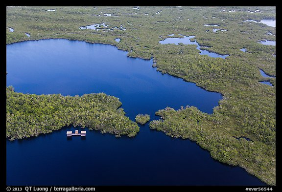 Aerial view of lake with elevated camping platforms (chickees). Everglades National Park, Florida, USA.