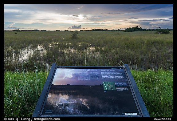 Interpretive sign, Shark River Slough. Everglades National Park (color)