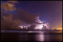 Lightening over Florida Bay seen from the Keys at night. Everglades National Park, Florida, USA. (color)
