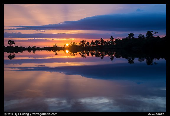 Sunset reflections, Pines Glades Lake. Everglades National Park (color)