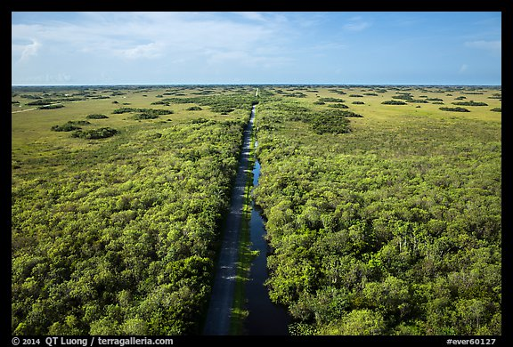 Aerial view of canal and road, Shark Valley. Everglades National Park (color)