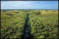 Aerial view of canal and road, Shark Valley. Everglades National Park ( color)
