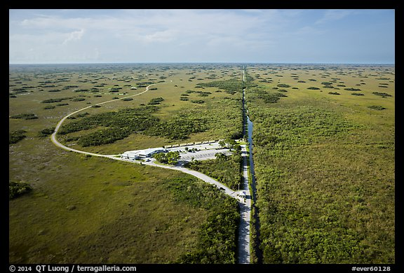 Aerial view of visitor center and loop road, Shark Valley. Everglades National Park (color)
