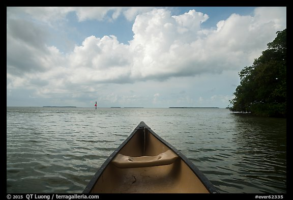 Canoe pointing to Florida Bay. Everglades National Park (color)