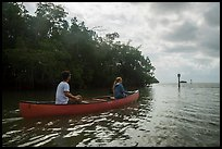 Couple canoeing towards Florida Bay. Everglades National Park ( color)
