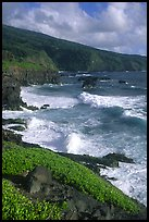 Seascape with waves and coastline, and cliffs,  Kipahulu. Haleakala National Park, Hawaii, USA.