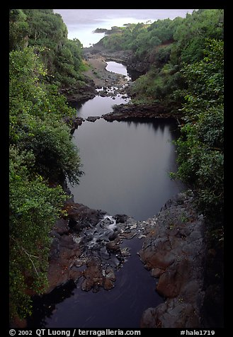 Oho o Stream on its way to the ocean forms Seven sacred pools. Haleakala National Park (color)
