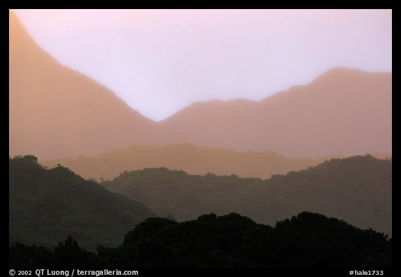 Kipahulu mountain ridges, sunset. Haleakala National Park (color)