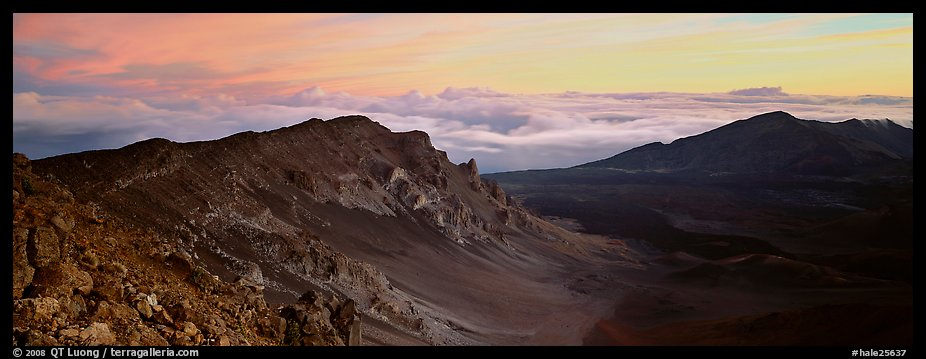 Crater and sea of clouds at sunrise. Haleakala National Park (color)