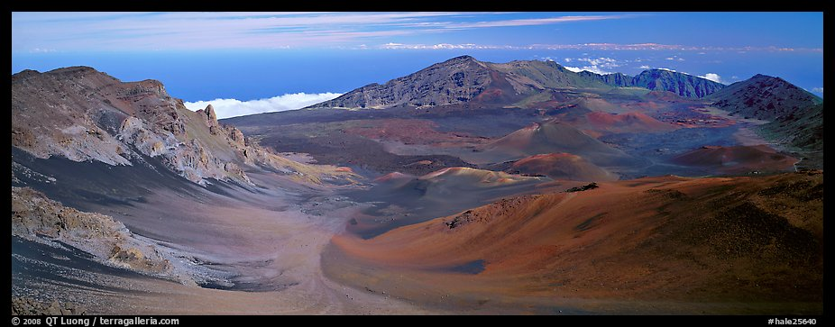 Volcanic landscape with brightly colored ash. Haleakala National Park (color)