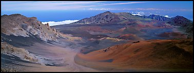 Volcanic landscape with brightly colored ash. Haleakala National Park (Panoramic color)