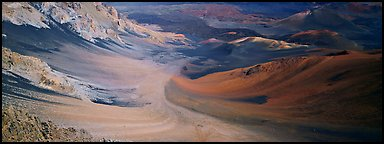 Ash flows with bright colors in Haleakala crater. Haleakala National Park (Panoramic color)