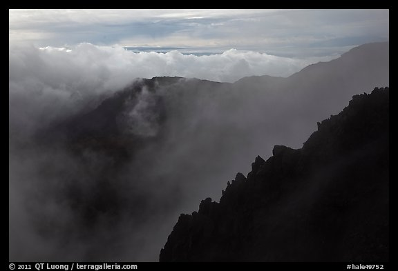 Ridges and clouds, Haleakala crater. Haleakala National Park (color)