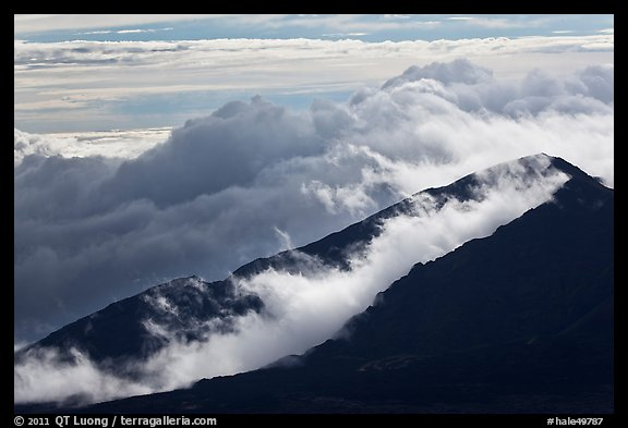 Crater ridges with clouds. Haleakala National Park (color)