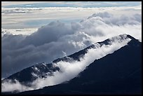 Crater ridges with clouds. Haleakala National Park ( color)