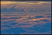 Sea of clouds at sunset. Haleakala National Park, Hawaii, USA. (color)