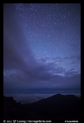 Haleakala Crater ridge and starry sky at night. Haleakala National Park (color)
