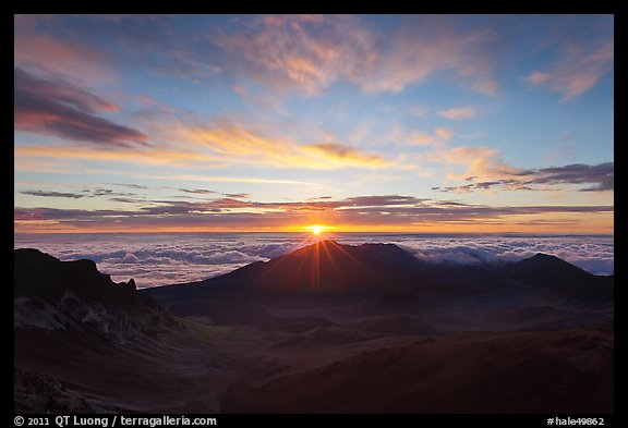 Sun rising, Haleakala Crater. Haleakala National Park (color)