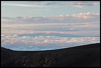 Mauna Loa framed by Haleakala Crater at sunrise. Haleakala National Park, Hawaii, USA. (color)