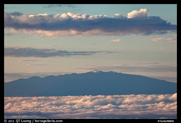Mauna Kea and clouds at sunrise. Haleakala National Park (color)