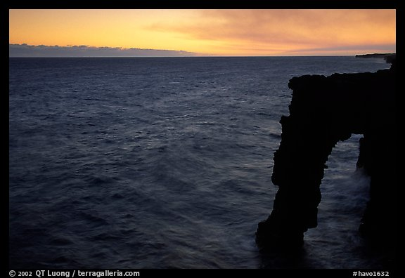 Holei sea arch at sunset. Hawaii Volcanoes National Park (color)