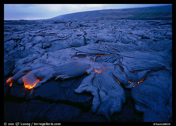 Field of lava flowing at dusk near end of Chain of Craters road. Hawaii Volcanoes National Park (color)