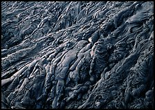Ripples of hardened pahoehoe lava. Hawaii Volcanoes National Park ( color)