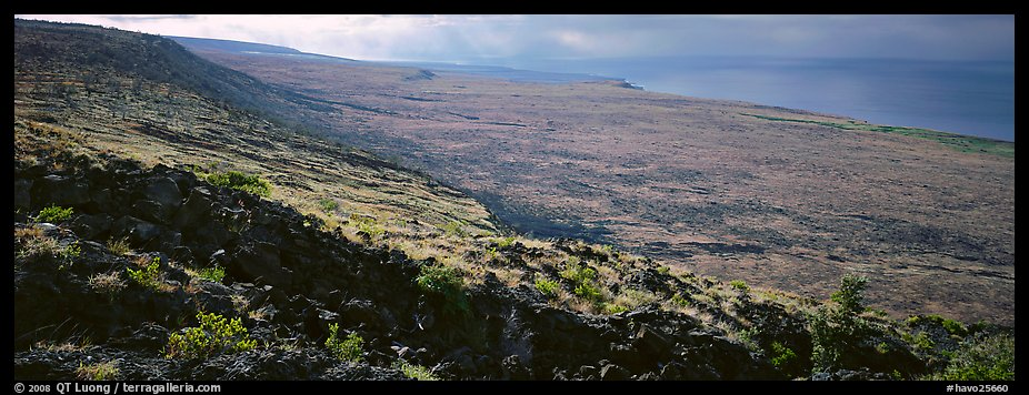Volcanic landscape with lava rocks. Hawaii Volcanoes National Park (color)