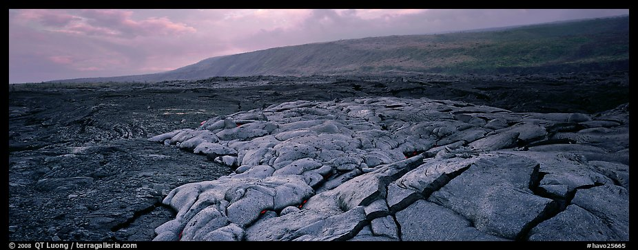 Volcanic scenery with  recent lava flow. Hawaii Volcanoes National Park (color)