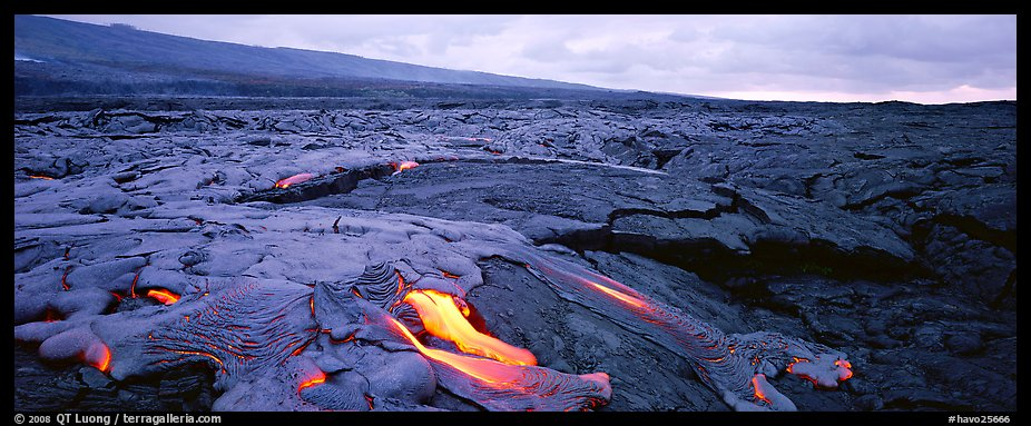 Volcanic landscape with molten lava low. Hawaii Volcanoes National Park (color)