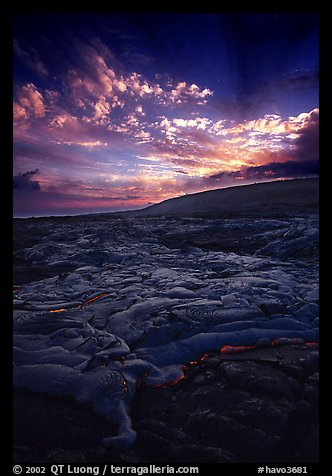 Live lava flow on coastal plain sunset. Hawaii Volcanoes National Park (color)