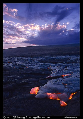 Kilauea lava flow at sunset. Hawaii Volcanoes National Park (color)