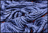 Braid-like pattern of pahoehoe lava. Hawaii Volcanoes National Park, Hawaii, USA. (color)