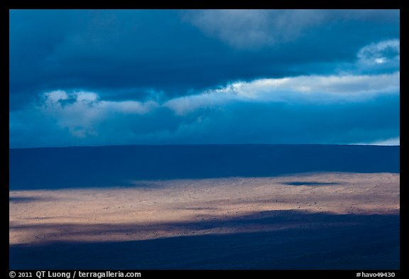 Light, shadows and clouds over Mauna Loa summit. Hawaii Volcanoes National Park (color)