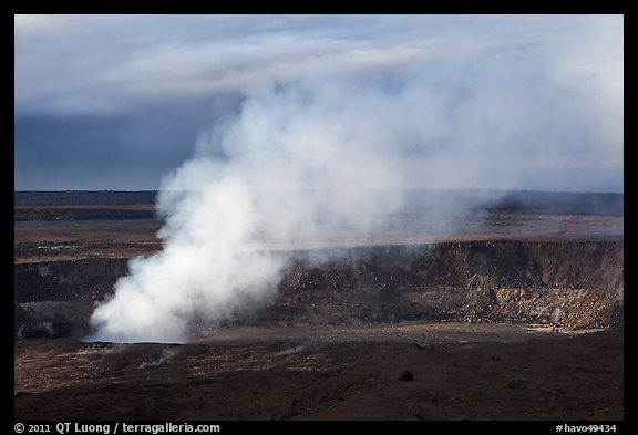 Sulfur dioxide plume shooting from vent, Halemaumau crater. Hawaii Volcanoes National Park (color)