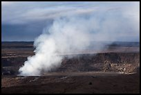 Sulfur dioxide plume shooting from vent, Halemaumau crater. Hawaii Volcanoes National Park, Hawaii, USA. (color)