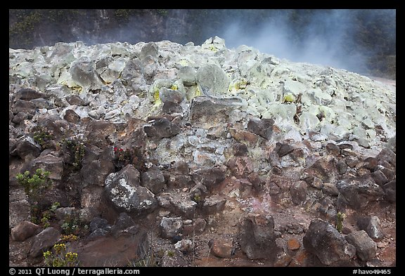 Mound of rocks covered with sulphur from vent. Hawaii Volcanoes National Park (color)
